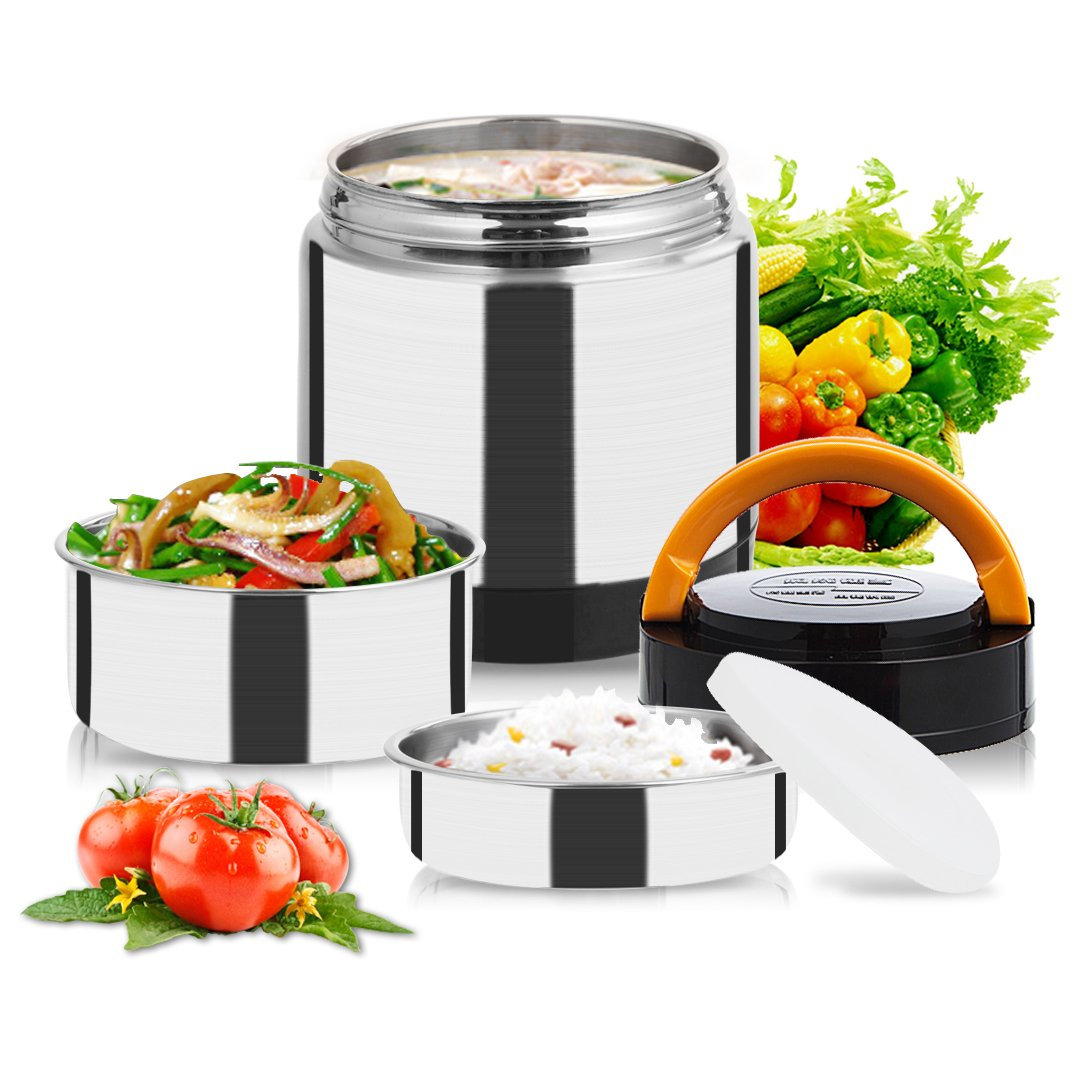 Vacuum Lunch Container Stainless Steel, Food Thermos Lunch Box Container Jar, Double Insulated Food Carrier, Stackable Bento Box for School Work Travel Hiking Camping Picnics, 1.4L BiBOSS