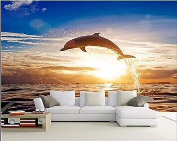 Weaeo 3D Photo Wallpaper Sea Sunrise Dolphin Paisaje Mural ...