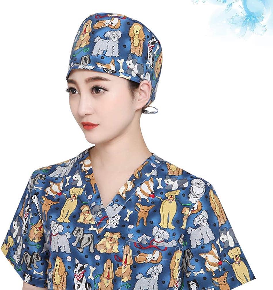 VALICLUD Berretto Chirurgico Unisex Cappello Chirurgico Batuffolo di Cotone Berretto Medico Infermiera Berretto Medico Donna Blu Navy