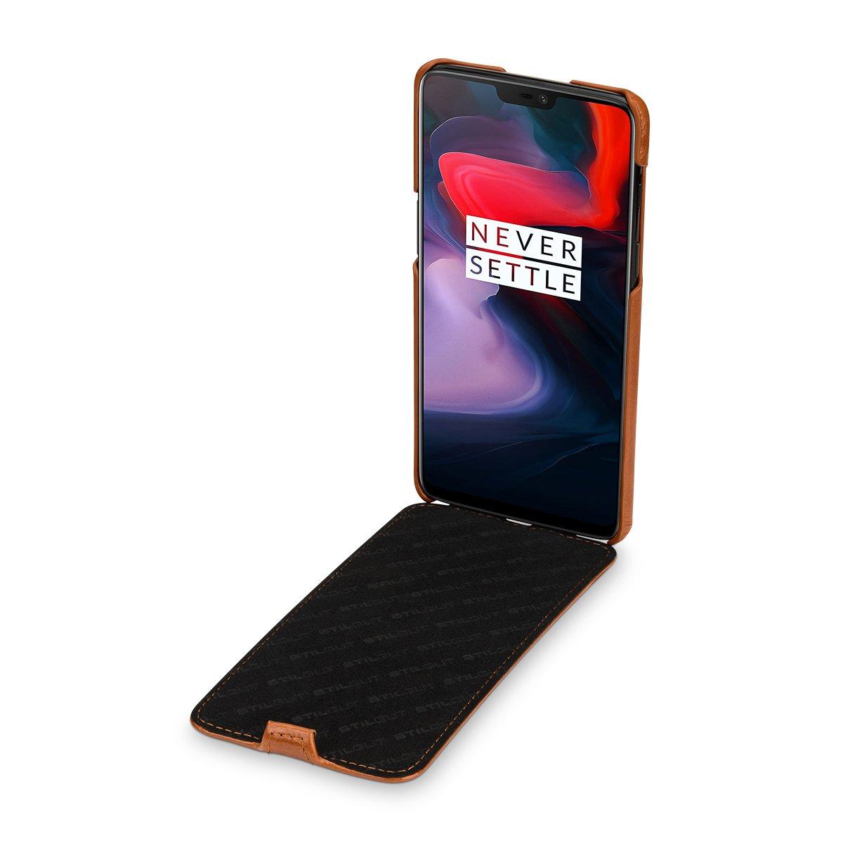 Cognac STILGUT Housse pour OnePlus 6 en Cuir /à Ouverture Verticale avec Fonction Mise en Veille Automatique