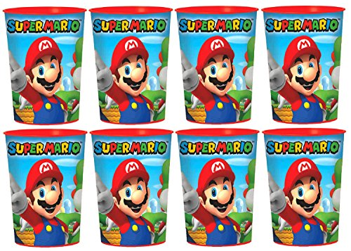 8 Pack Super Mario Brothers 16oz Plastic Cup Birthday Party Favors by MSS