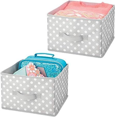 mDesign Juego de 2 cajas de almacenaje para ropa, juguetes, etc ...