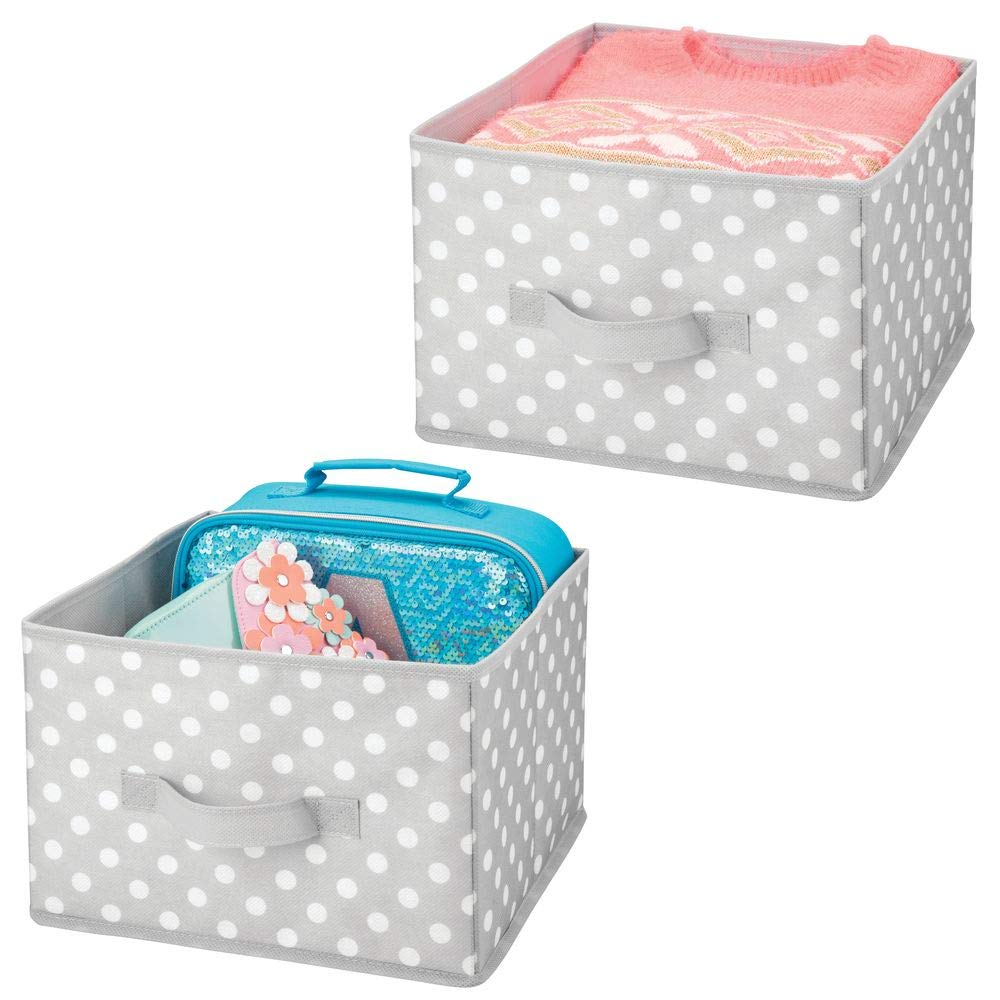 mDesign Soft Fabric Closet Storage Organizer Holder Box Bins, Attached Handle - for Bedroom, Nursery, Closet, Toy Room, Playroom, Cube Systems - Polka Dot Pattern - Medium, Pack of 2, Gray/White