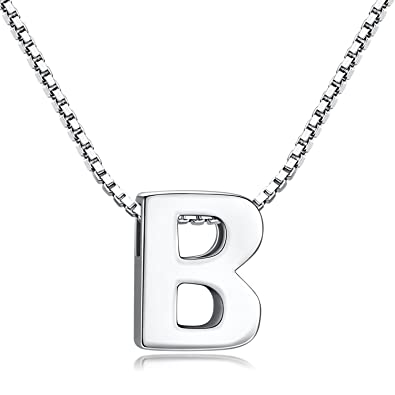 98af99321cb3 Candyfancy Women's 925 Sterling Silver Alphabet Initial Letter Pendant  Necklace A-Z for Girls
