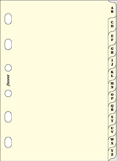 Filofax Pocket - Recambio para agenda de anillas, agenda telefónica, pestañas A - Z (2 letras por pestaña), color crema