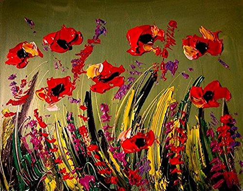 Painting Original Red Oil Poppies - 24