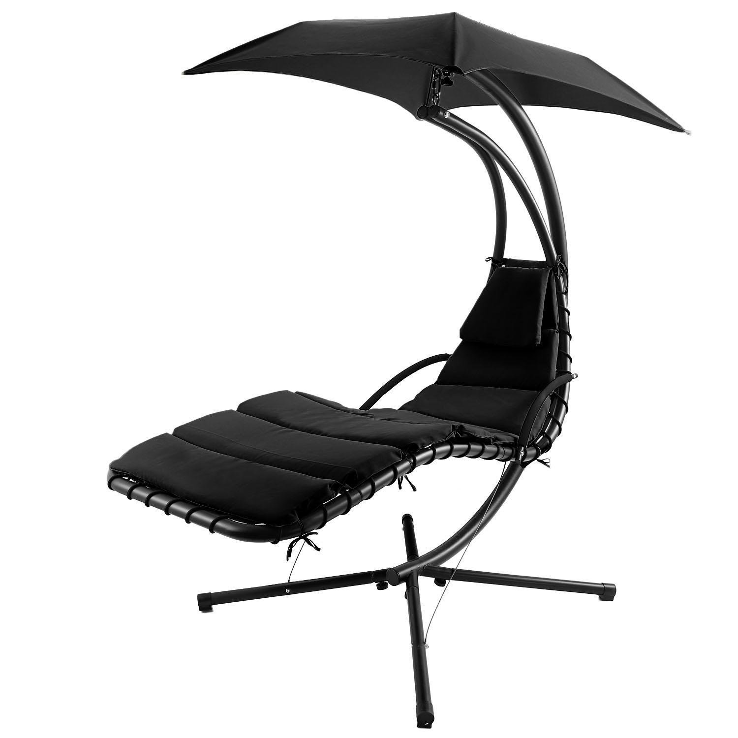 550lbs Capacity Hanging Lounger Chair Modern Design Swing Hammock Canopy Yard Garden (Black)