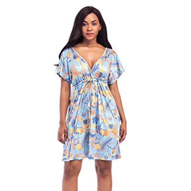 iYYVV Womens Fashion Short Sleeve Print V Neck Sexy Casual Loose Dress Plus