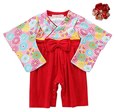 9261a3a53 Amazon.com: FANCYBABY Japanese Girls Toddler Kimono Dress Robe Outfit  Costume with Hair Clip: Clothing