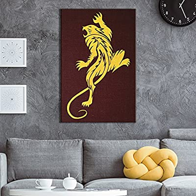 Canvas Wall Art - Golden Beast Style Pattern on Vintage Background - Giclee Print Gallery Wrap Modern Home Art Ready to Hang - 12x18 inches