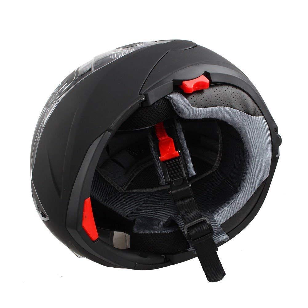 Blanco Ejoyous Casco de Moto Modular con Doble Visera para Ciclomotor Motocicleta y Scooter Cascos Integrales Mujer y Hombre L