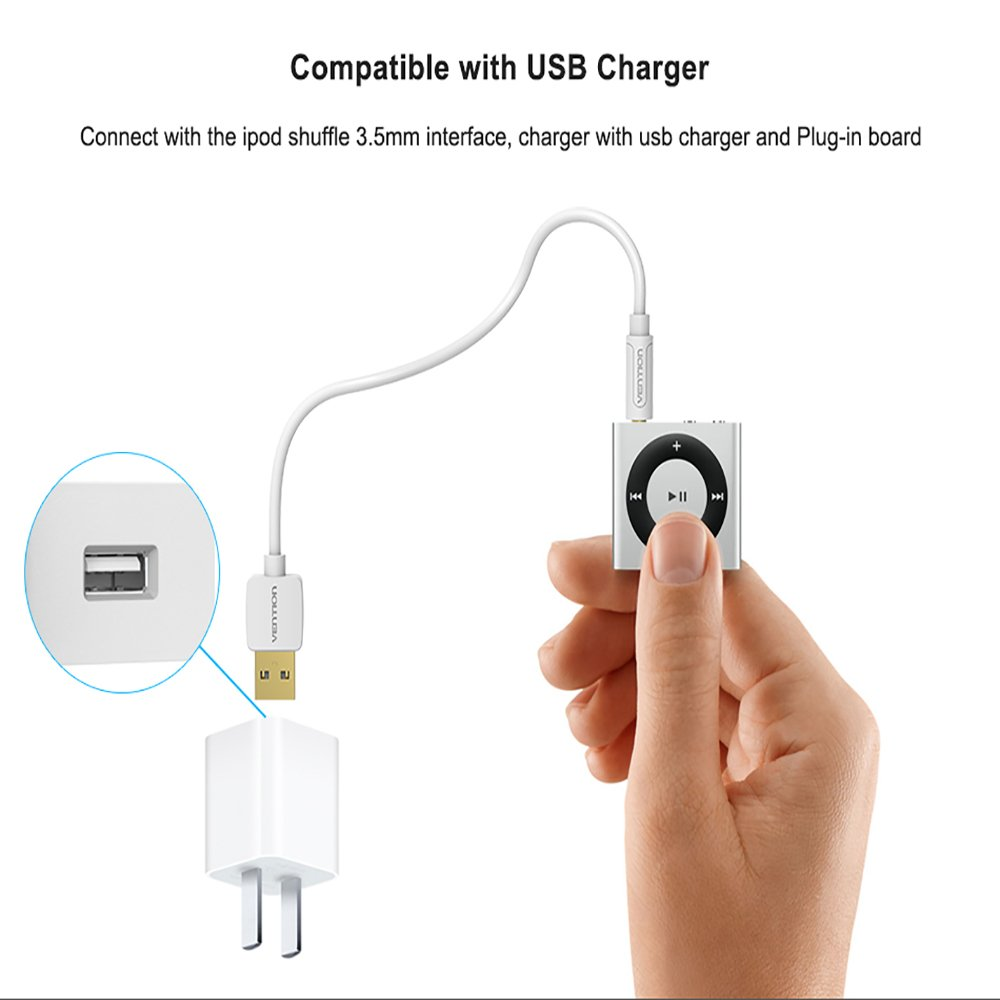 Vention Cable de carga para iPod Shuffle, 2 en 1, cargador ...