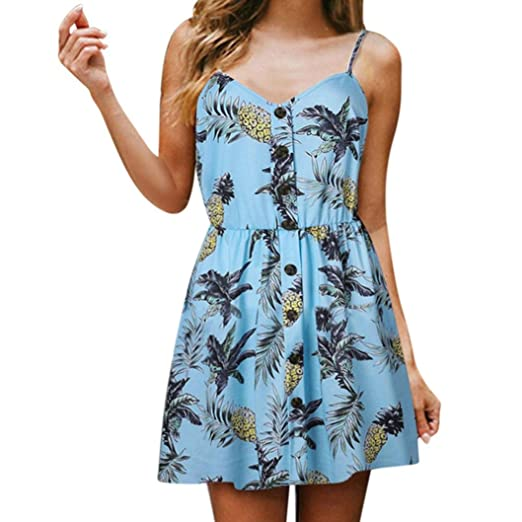 ce9ff95426546 Hunzed Women Sexy Pineapple Print Dress, Sling Sleeveless V-Neck Button  Princess Dresses at Amazon Women's Clothing store: