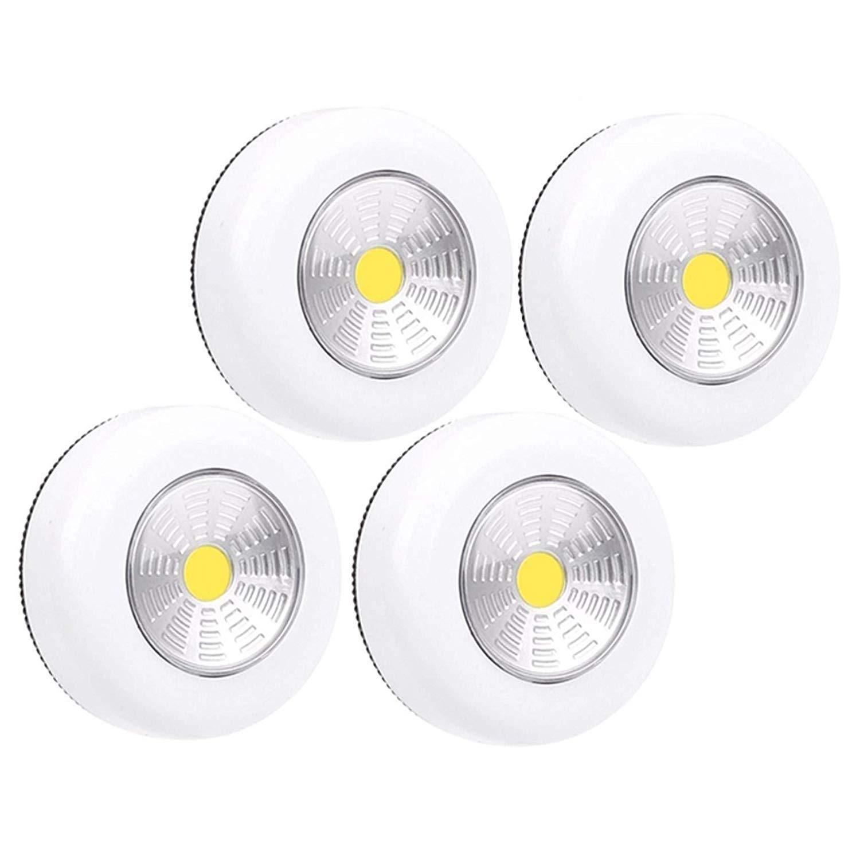 4-Pack PL20 Wireless LED Puck Light | LED Under Cabinet Lighting | Closet Light | Battery Powered Lights | Under Counter Lighting | Stick On Push Lights | Batteries Included