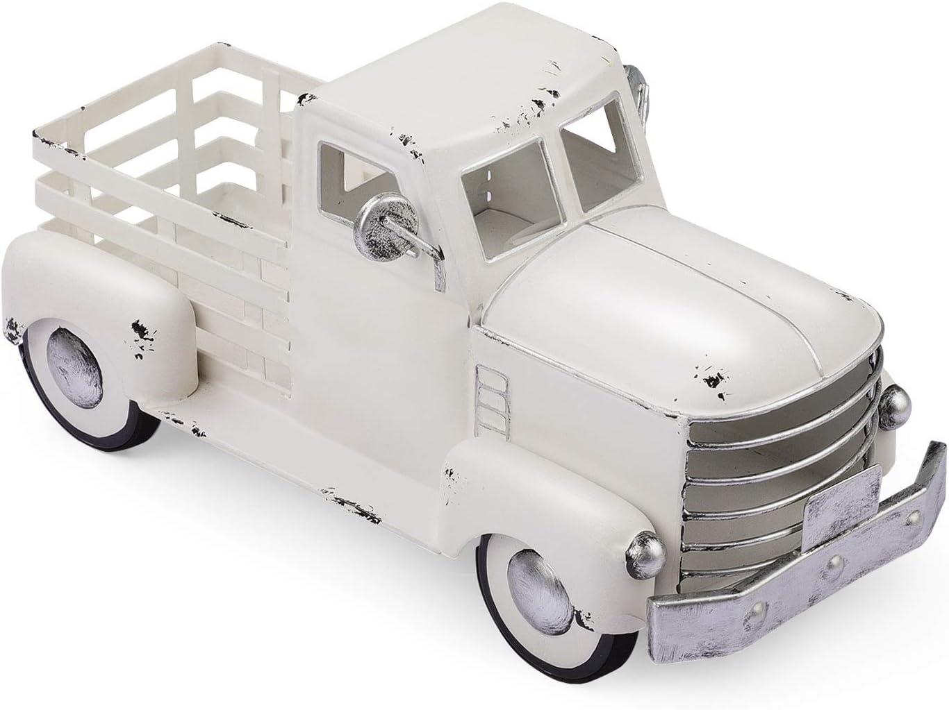 Vintage White Truck Décor, Farmhouse White Truck Spring Decoration, Decorative Tabletop Storage & Pick-up Metal Truck Planter