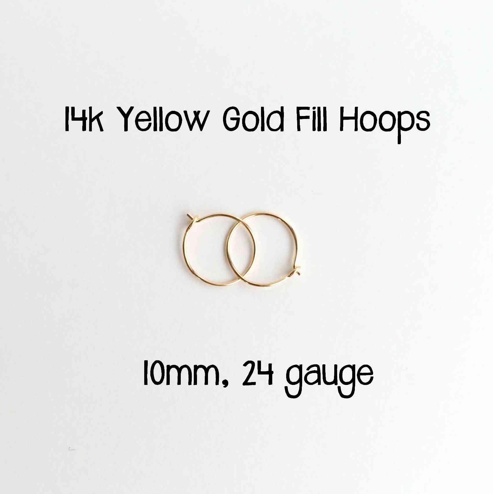 Little Hoop Earrings. 14k Yellow Gold Fill Hoops. 10mm, 24 gauge Made by hand.