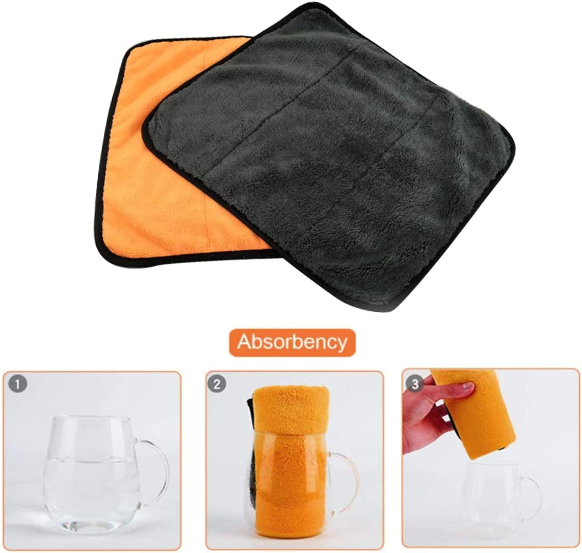 40cm 720gsm Ultra Thick Microfiber Car Cleaning Cloths,Dual Layer Car Drying Plush Towels Kitchen Cleaning Cloths Home Polishing Washing,Pack of 3 Ytesky 38