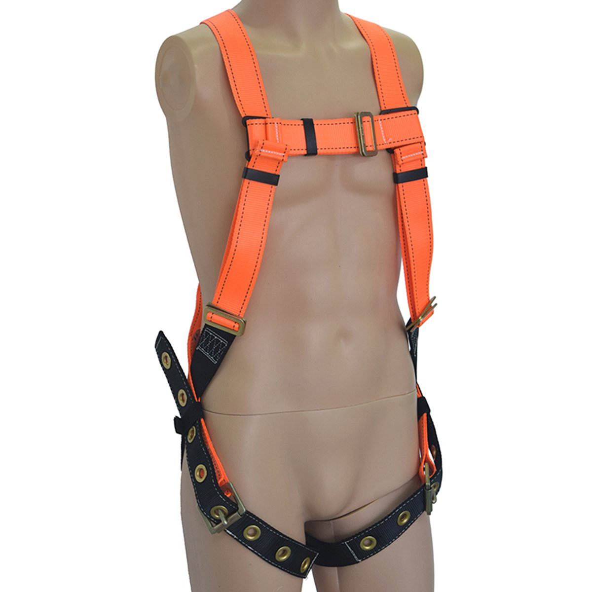 KSEIBI 421025 Full Body Fall Protection Daily Light Weight Safety Harness w D-Ring - Chest Pass Thru Buckles and Grommet Leg Strap Connectors (FLEX-A)