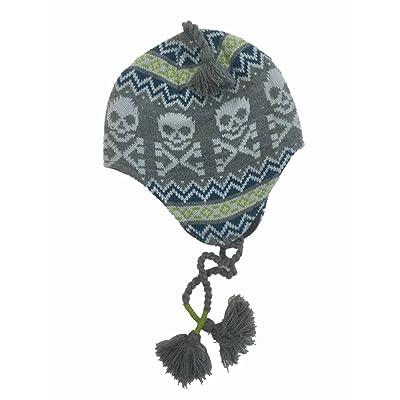 Ben Berger Boys Gray Skull Peruvian Trapper Hat Skulls & Crossbones