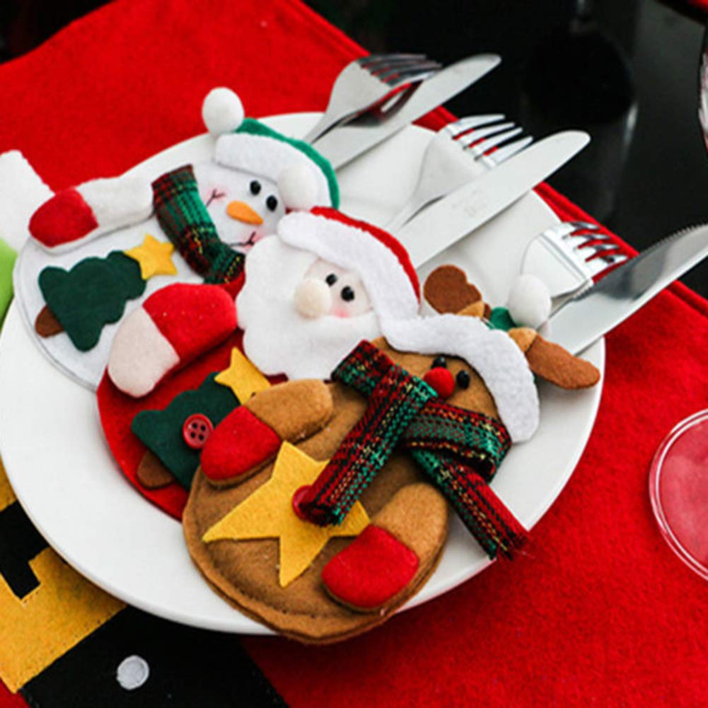 CHoppyWAVE Cutlery Pouch, Santa Snowman Cutlery Holder Utensil Bag Fork Knife Pocket Xmas Table Decor - Snowman by CHoppyWAVE (Image #2)