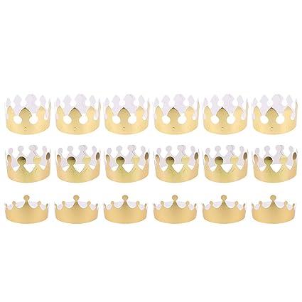 NUOBESTY Papel Princesa Princesa Rey Sombreros Niños Favores ...
