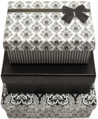Elegant Black Gift Box (Alef Elegant Decorative Themed Nesting Gift Boxes -3 Boxes- Nesting Boxes Beautifully Themed and Decorated - Perfect for Gifts or Simple Decoration Around the House! (Small Damask))