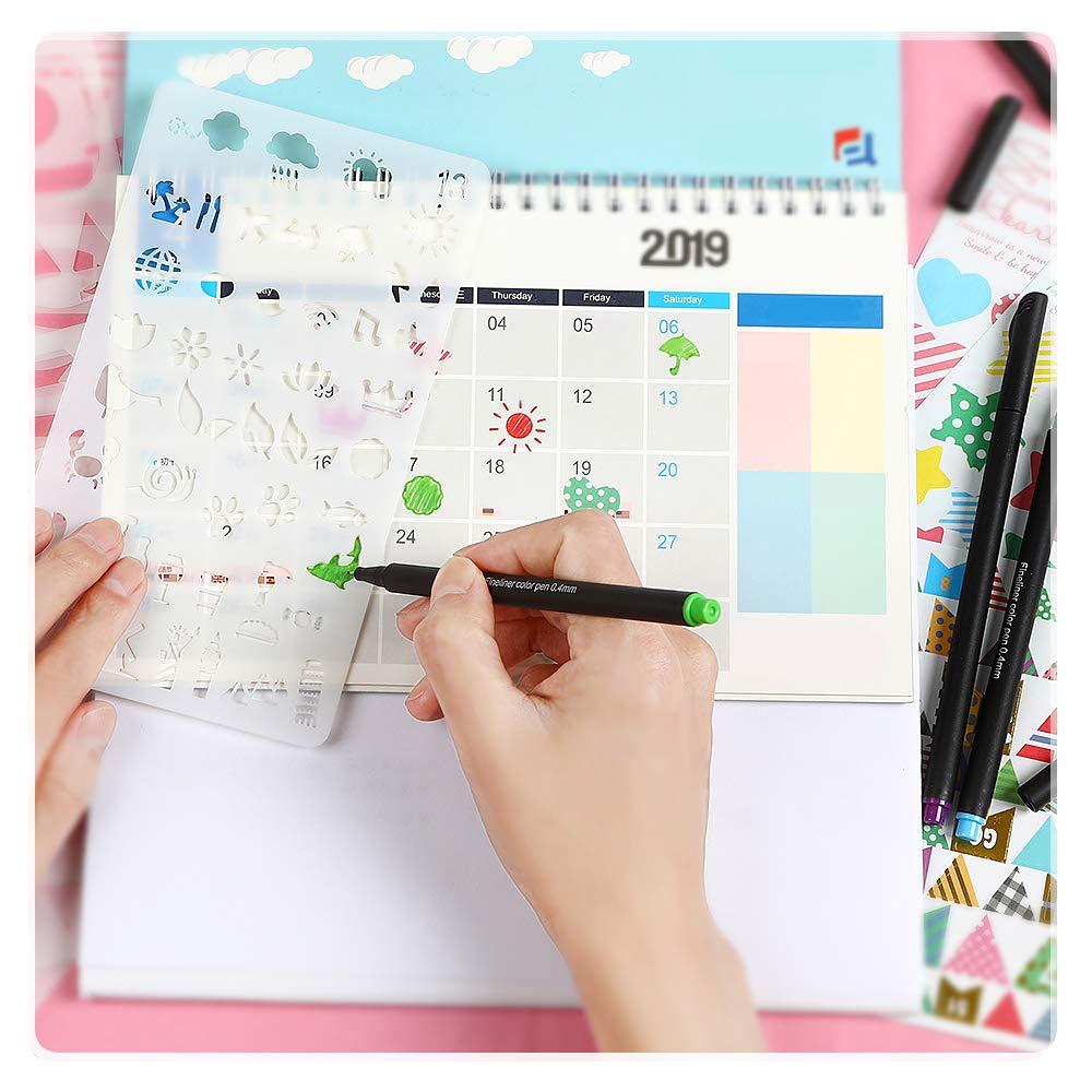Ogori Washi Tape Scrapbooking Supplies Kit Multi-Pattern Tagebuch Schablone Washi Tape Scrapbook Sticker Schablonen f/ür Basteln wiederverwendbar mit 24 Staedtler Fineliner Stifte Rei/ßverschluss Tasche