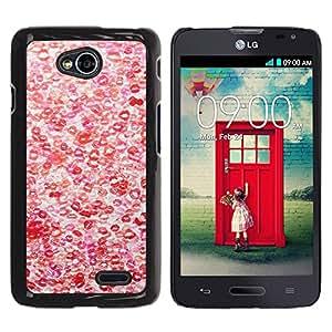 YiPhone /// Prima de resorte delgada de la cubierta del caso de Shell Armor - Hot Love Red White Pattern - LG Optimus L70 / LS620 / D325 / MS323