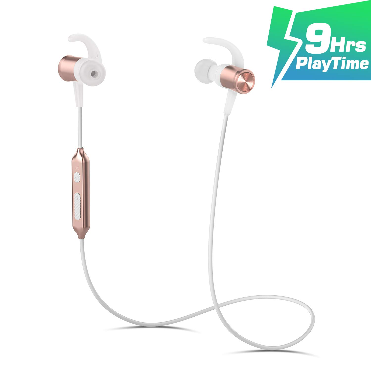 Wireless Sport Running Headphones, Bluetooth 4.1 Lightweight Stereo Earbuds with Magnetic Connection, Best Wireless Sports Stereo Sweatproof Headset with Built-in Mic for iPhone 7 7 Plus Gold