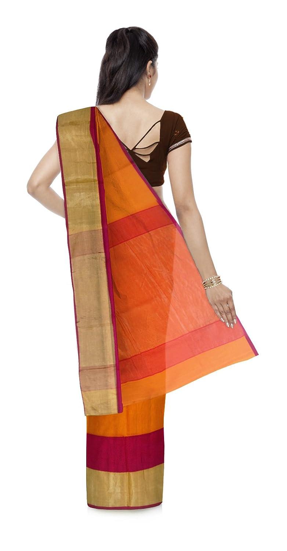 Orange Color Maheshwari Cotton & Silk Saree With Blouse Piece