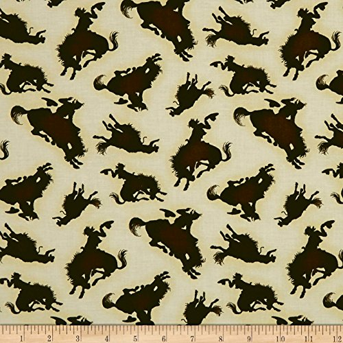 Henry Glass Rodeo Round Up Bucking Horse Silhouette Cream Fabric by The Yard