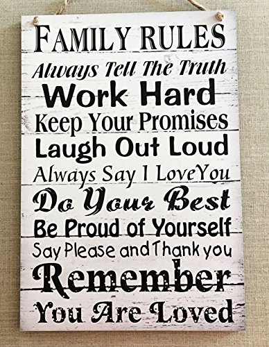 FAMILY RULES Handmade Shabby Chic House Home Wood Sign Wall Wood Sign Wall Plaque Wooden Hanging Keepsake Unique (Rules Wall Hanging)