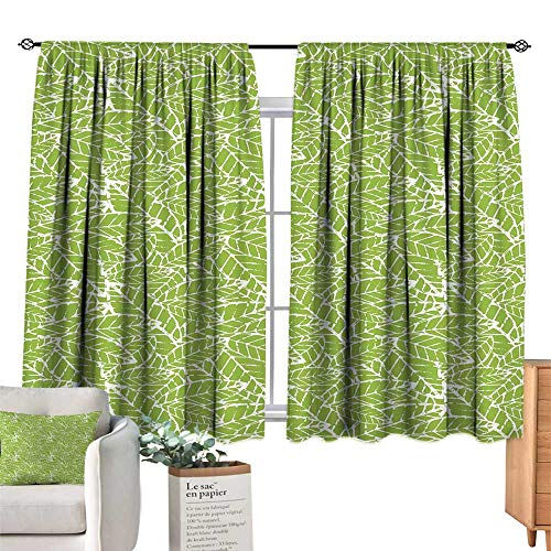 Green Blackout Curtain Watercolor Hand Drawn Leaf Pattern with Grungy Vintage Organic Nature DisplayLime Green White Wall Curtain W72 x L72