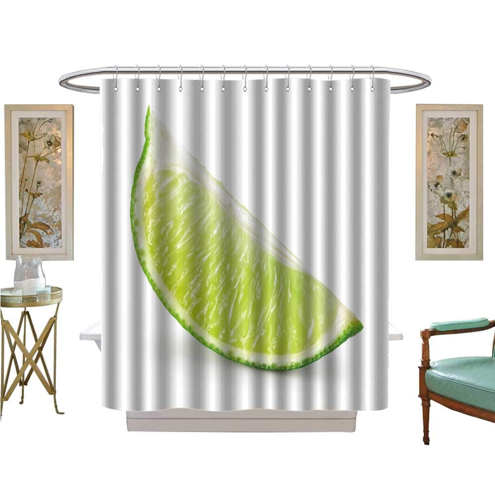 luvoluxhome Shower Curtains 3D Digital Printing Lime Fruit. Slice Isolated on White Bathroom Set with Hooks W72 x L84