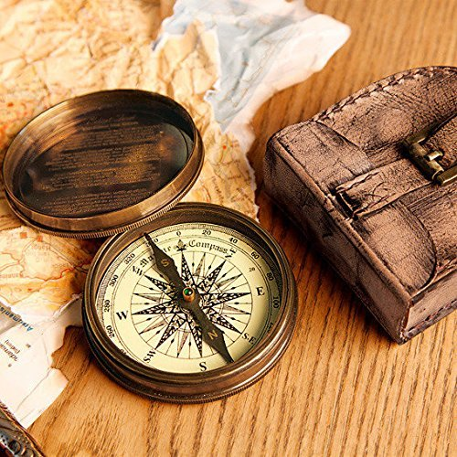 3 Robert Frost Poem compass with Handmade Leather Carry Case