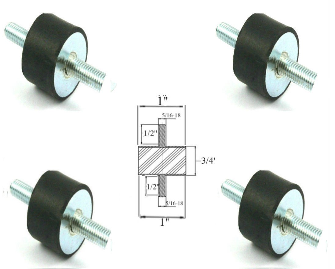 Lot of (4) Rubber Anti Vibration Isolator Mounts Rubber Height 3/4'' x 1'' Rubber Diameter - Studs 5/16-18 x 1/2'' Length