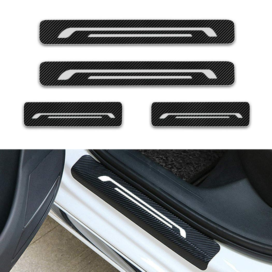 For nissan nv200 pathfinder rogue sentra serena door sill protector reflective 4d carbon fiber sticker door entry guard door sill scuff plate stickers auto