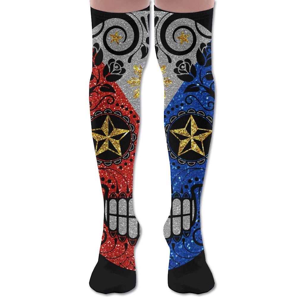 Filipino Flag Sugar Skull Women Thigh High Socks Over Knee High Socks Leg Warmer Sexy Stockings by Jisper (Image #1)