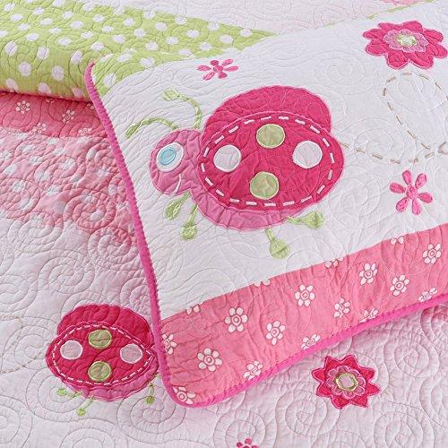 Quilt Set Twin Single (Cozy Line 2-Pcs Girl Ladybug Reversible Quilt Set Cotton Bedding For Kids , Twin)