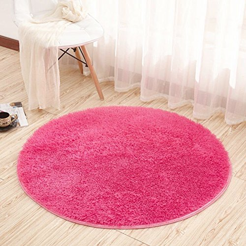 (Noahas 4-Feet Luxury Round Area Rugs Super Soft Living Room Bedroom Carpet Woman Yoga Mat, Rose Red)