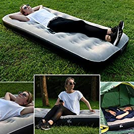 UPSKR Air Mattress Breathable & Comfort with Electric Pump, Portable Air Bed Blow up Mattress for Camping Car Home Guest Kids Upgraded Inflatable Mattress Elevated Raised Bed 3-Year Warranty (Twin)