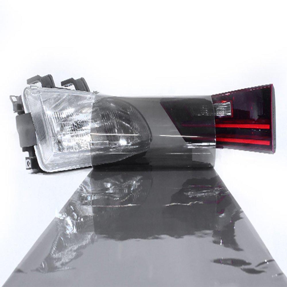 "LinkedGo Light Black Adhesive Headlight Tint for Foglight Tail Self Wrap (12""x72"")"