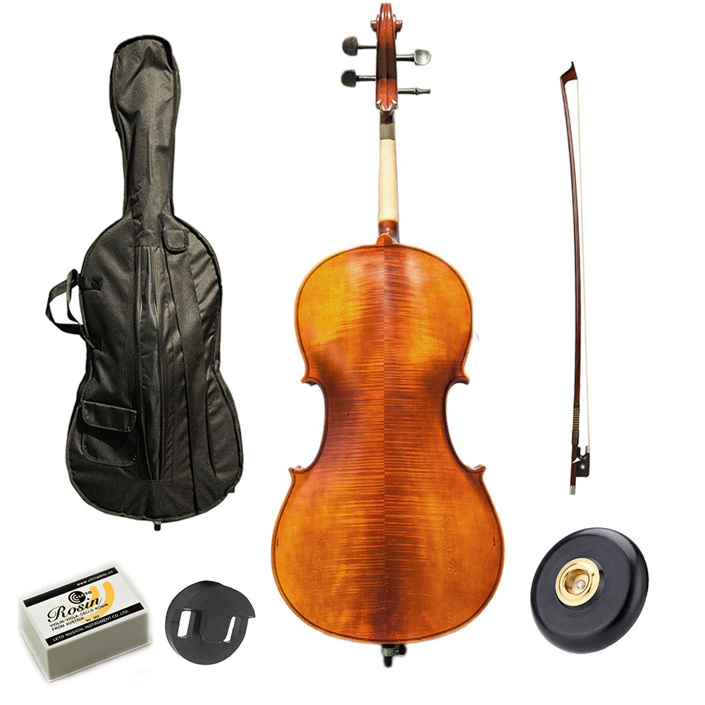 Paititi PTTCE101T Ebony Fitted Oil Finish Wood Cello with Soft Case, Bow, Rosin, Stopper and Mute
