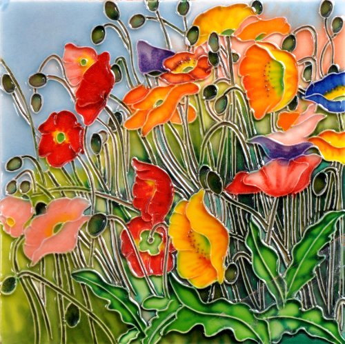 Multi- Colored Poppies Flora Land - Decorative Ceramic Art Tile - 8