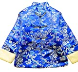 CRB Fashion Boys Chinese New Years Cheongsam Clothes Asian Jacket Top Coat (Blue, height 120cm)