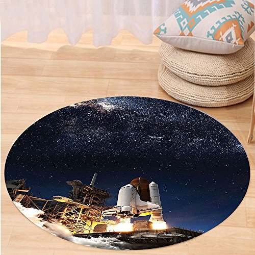 VROSELV Custom carpetGalaxy Space Shuttle on Take off Discovery Mission to Explore Galaxy Spaceship Solar Adventure Bedroom Living Room Dorm Decor Blue White Round 47 inches by VROSELV