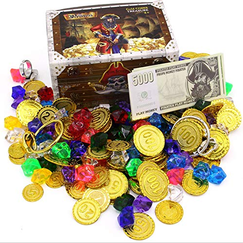 Pirate Gold Coins Buried Treasure and Pirate Gems Jewelry Play set Activity Game Piece Pack Party Favor Decorations (100 Coins + 100 Gems+ 16Banknotes + 2 Rings + 2 Earrings + 1 Treasure Chest)