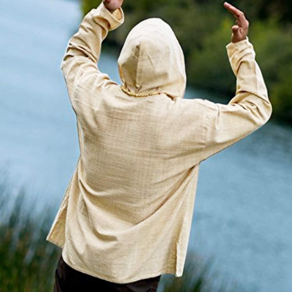 Automne Hiver Top Blouse Casquette /à Manches Longues en Lin Pur Coton R/éTro Leggings Fitness Gym Running L/âChe Tendance De La Mode MCYS T-Shirt /à Manches Longues Homme