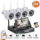 SW SWINWAY All In One 720P WIFI CCTV System 4CH1.0MP Wireless NVR With 7 Inch Monitor 4 Waterproof Outdoor Indoor IP Camera IR-CUT Night Vision Home Security Surveillance Kits(Include 1TB Hard Drive)