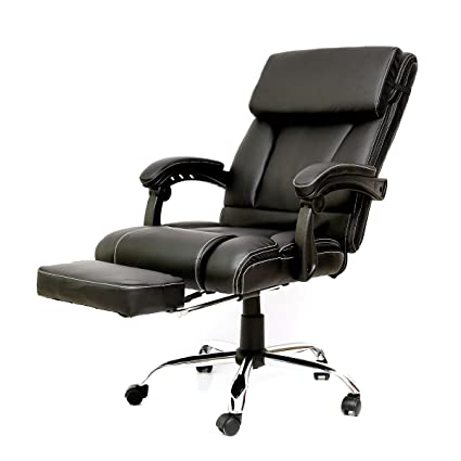 Executive Recliner Office Chair With Footrest   PU Leather 360 Degree  Swivel,Height Adjustable High